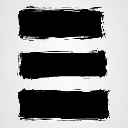 mess: Set of three black grunge banners for your design