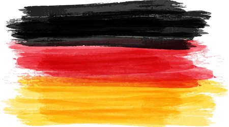 tricolour: Abstract painted grunge flag of Germany Bundesflagge und Handelsflagge. Vector illustration.