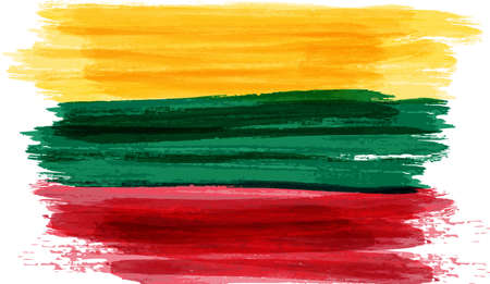 tricolour: Abstract painted grunge flag of Lithuania. Vector illustration. Illustration