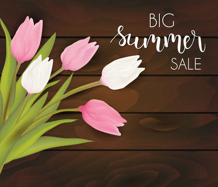 beach party: Banner for summer sale. Pink and white tulip bouquet on dark wooden background. Vector illustration. Illustration