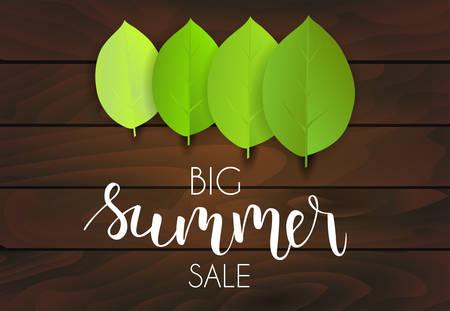Banner for summer sale. Green leaves on dark wooden background. Vector illustration. Illustration