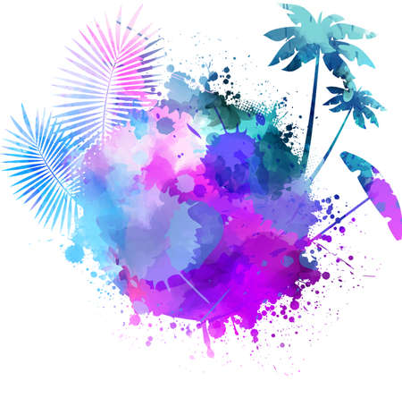 Abstract painted splash shape with silhouettes. Travel concept -  palm trees, sun umbrella. Multicolored. Иллюстрация