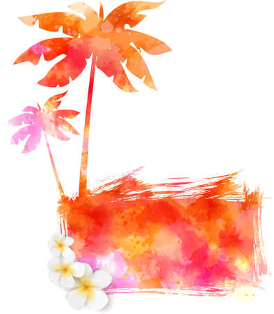 young leaves: Abstract painted splash shape with silhouettes. Travel concept - tropical flowers, palm trees. Multicolored.