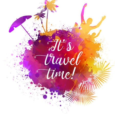 sun energy: Abstract painted splash shape with silhouettes. Travel concept - partying, palm trees, sun umbrella. Multicolored. Its travel time calligraphic message. Vector illustration. Illustration