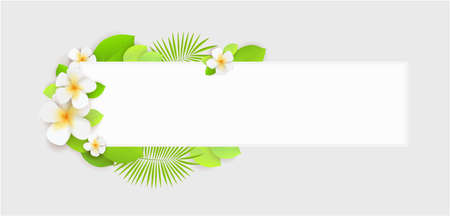 Decorative banner background with tropical flowers and leaves.