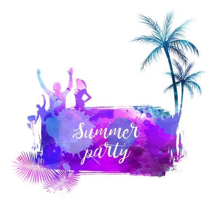Abstract painted splash shape with silhouettes. Travel concept - palm trees, sun umbrella, partying people. Summer party text message. Multicolored watercolor imitation vector illustration.
