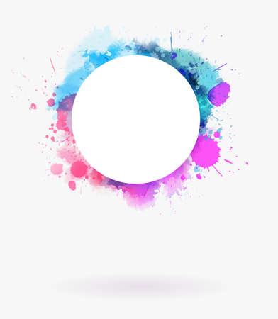Cadre de fond multicolore imitation aquarelle avec fond blanc rond.