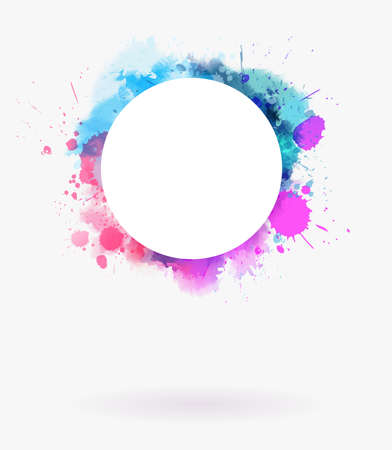 Watercolor imitation multicolored background frame with round white copyspace.