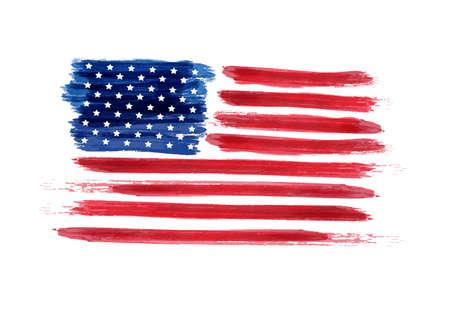 Contexte des années de l'indépendance. Joyeux 4 juillet. Vector abstract grunge flag. Modèle de bannière, carte de voeux, invitation, affiche, flyer, etc. Vecteurs