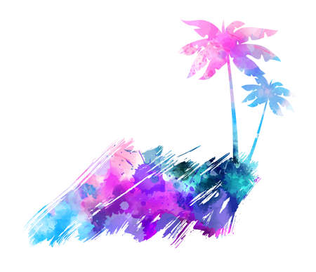 brushed: Abstract painted splash shape with palm silhouettes. Travel concept grunge background. Multicolored watercolor imitation vector illustration.
