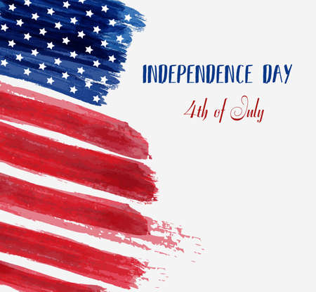 USA Independence day background. Happy 4th of July. Vector abstract grunge brushed flag with text. Template for banner, greeting card, invitation, poster, flyer, etc.  イラスト・ベクター素材
