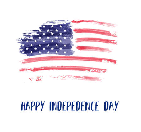 USA Independence day background. Happy 4th of July. Vector abstract grunge brushed flag with text. Template for banner, greeting card, invitation, poster, flyer, etc. 向量圖像