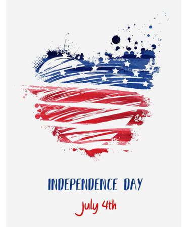 USA Independence day background. Happy 4th of July. Vector abstract grunge flag in heart shape with text. Template for banner, greeting card, invitation, poster, flyer, etc. Ilustração