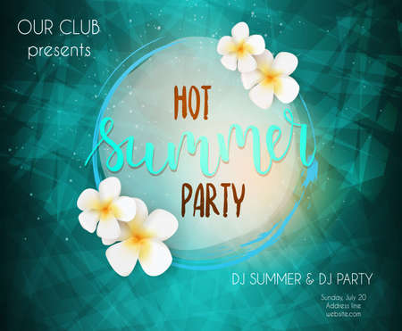 beach sunset: Party poster template. Hot summer party handwritten lettering text. Frame with tropical flowers. Travel leisure concept. Bright colored. Illustration
