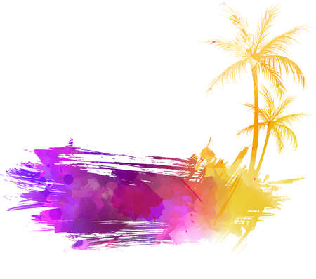 brushed: Abstract painted grunge splash shape with silhouettes. Travel concept - palm trees. Multicolored grunge brushed watercolor imitation vector illustration.