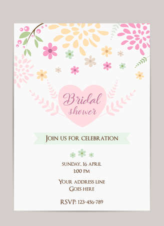 Bridal shower invitation template simple design with abstract bridal shower invitation template simple design with abstract flowers and branches stock vector 80387854 filmwisefo