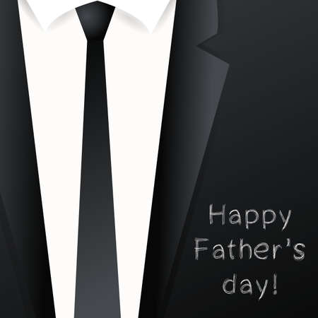 holiday invitation: Happy Fathers day background - suit with necktie. Template design for greeting card, invitation, holiday banners.