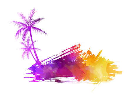 sun energy: Abstract painted grunge splash shape with silhouettes. Travel concept - palm trees. Multicolored grunge brushed watercolor imitation vector illustration.
