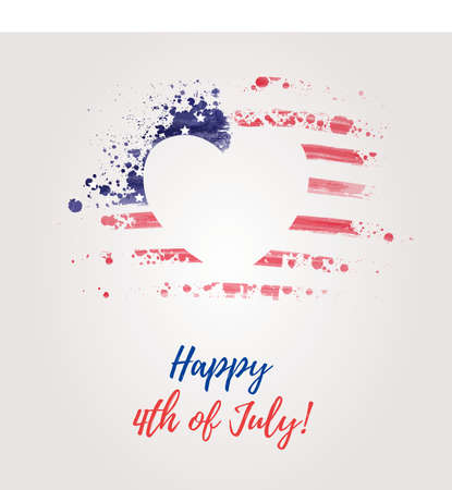 USA Independence day background. Happy 4th of July. Vector abstract grunge flag in heart shape with text. Template for banner, greeting card, invitation, poster, flyer, etc. Illustration