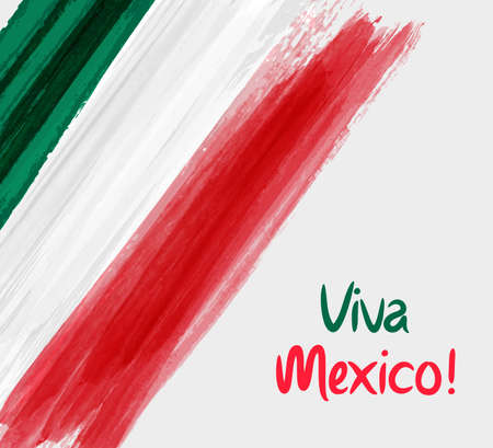 Viva Mexico background with waterccolored grunge design. Independence day concept background.