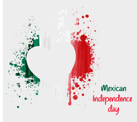 nationalism: Mexican Independence day background with grunge heart in flag colors. Concept for Independence day poster, flyer, banner, etc. Illustration