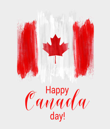 Happy Canada day background with watercolor brushed lines. Grunge canadian flag. Template for invitation, poster, flyer, banner, etc.