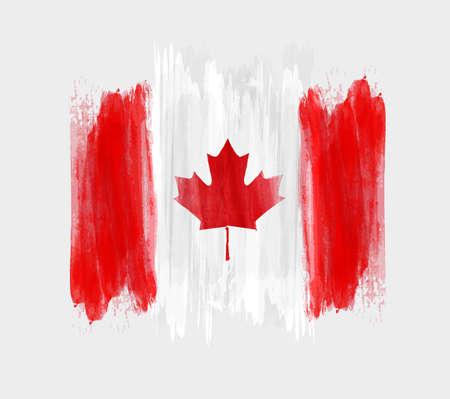 Contexte heureuse du Canada avec lignes aquarelles à brosses. Drapeau canadien grunge. Modèle pour invitation, affiche, flyer, bannière, etc. Vecteurs