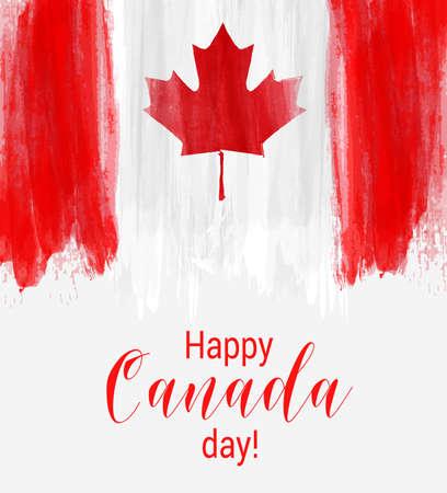 Felice giorno Canada sfondo con linee spazzolato acquerello. Bandiera canadese di Grunge. Modello per invito, poster, volantino, banner, ecc. Vettoriali