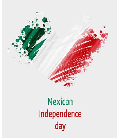 フラグの色のベクトルグランジの心臓とメキシコ独立記念日背景。独立記念日のポスター、チラシ、バナーなどの概念。