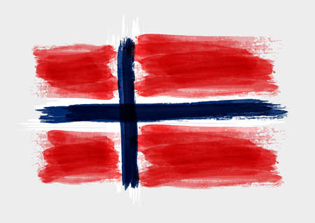 flag: Grunge watercolored flag of Norway on gray background. Template for your designs. Illustration