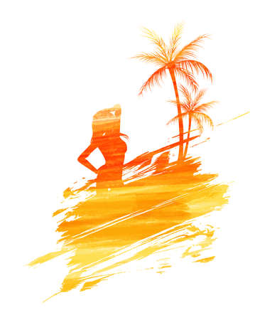 Abstract painted splash shape with silhouettes. Travel concept - palm trees, partying girl. Multicolored watercolor imitation vector illustration.