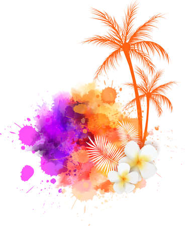 Abstract painted grunge splash shape with silhouettes. Travel concept - palm trees, tropical flowers. Multicolored grunge brushed watercolor imitation vector illustration.