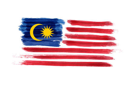 Watercolor imitation brushed Flag of Malaysia. Jalur Gemilang. Vector illustration. Stock fotó - 82034463