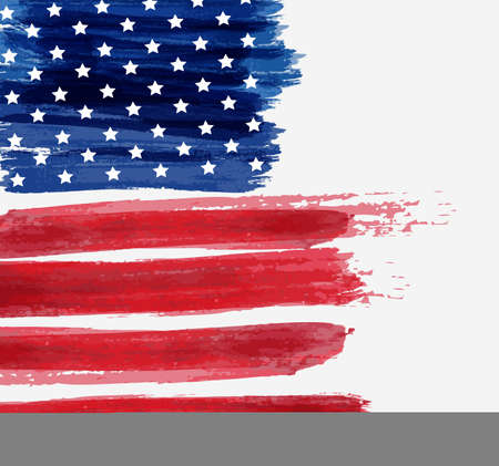 USA abstract flag brushed background. Vector abstract grunge brushed flag. Template for holiday banner, greeting card, invitation, poster, flyer, etc.