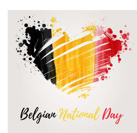 Holiday background  for Belgian national day. Painted  flag in heart shape. Illustration