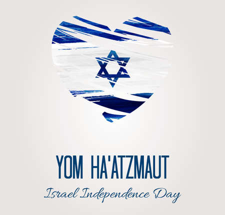 Holiday background with watercolor imitation flag of Israel. Israel Day of Independence.
