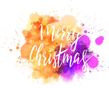 Watercolor imitation background with handwritten modern calligraphy message Merry Christmas. Holiday abstract art. Vector illustration.