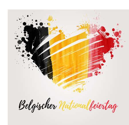 Vakantieachtergrond voor Belgische nationale dag. Geschilderde vlag in hartvorm. Duitse tekst. Stock Illustratie