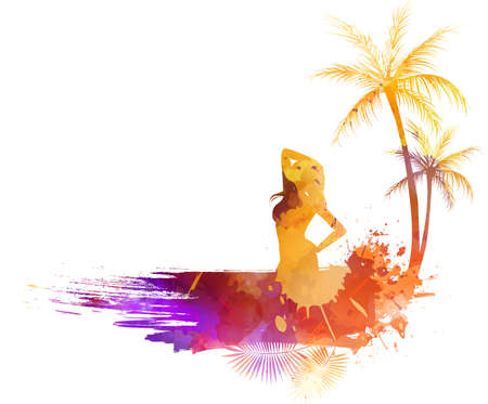 Abstract painted grunge splash shape with silhouettes. Travel concept - partying girl, palm trees. Multicolored. Vector illustration.