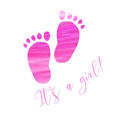 reveal: Baby gender reveal concept illustration. Watercolor brushed footprints. Its a girl. Pink colored. Illustration