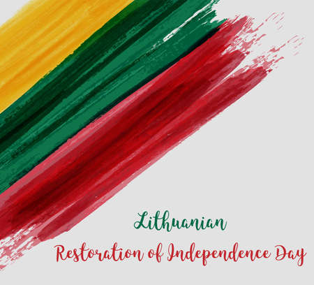 Lithuanian Restoration of the Independence Day. Holiday background with abstract Lithuanian flag