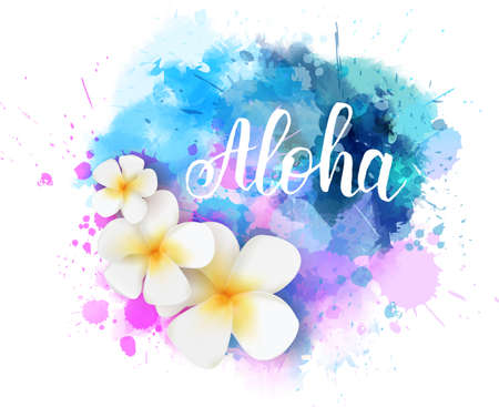 Purple and blue colored watercolor splash with frangipani tropical flowers and calligraphy message Aloha. Handwritten modern calligraphy text. Illustration