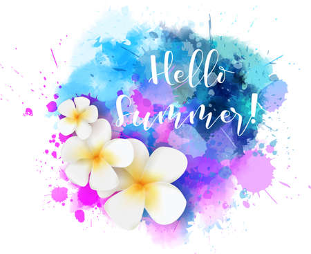 Purple and blue colored watercolor splash with frangipani tropical flowers and calligraphy message Hello summer!