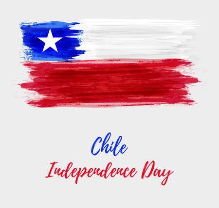 Holiday background with grunge watercolor imitation flag of Chile, Chile Independence day.  イラスト・ベクター素材
