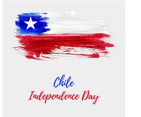 Holiday background with grunge watercolor imitation flag of Chile, Chile Independence day. Illustration