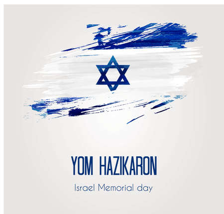 Holiday background with grunge watercolor imitation flag of Israel, Israel Memorial day. Illustration