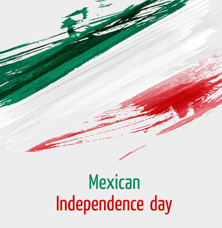 Mexican Independence day background with grunge lines in flag colors. Concept for Independence day poster, flyer, banner, etc.