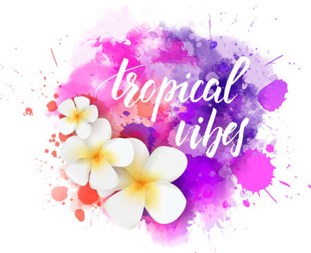 Abstract travel background with plumeria flowers on colorful watercolor splash Illustration