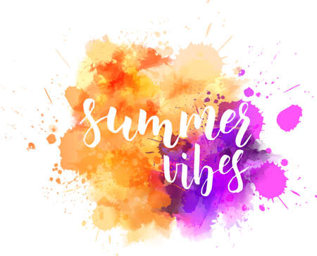 Watercolor imitation background with handwritten modern calligraphy message Summer vibes.  Orange and purple colored. Vector illustration. Illustration