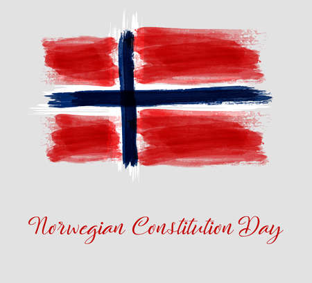 Norwegian Constitution day holiday background. Grunge watercolor flag of Norway. Template for holiday poster, flyer, banner, invitation, etc.